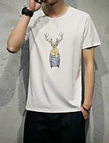 Masculino Camiseta Casual Esportivo Simples Activo Todas as Estações,Sólido Azul Branco Verde Algodão Decote Redondo Manga Curta Fina