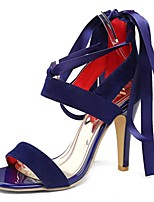 Sandals Spring Summer Fall Comfort PU Party & Evening Dress Casual Stiletto Heel Lace-up Black Blue Purple Red