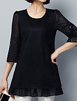 Women's Going out Casual/Daily Holiday Cute Street chic Sophisticated Spring Summer T-shirt,Solid Round Neck ¾ Sleeve Black Others Medium
