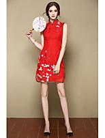 Для женщин На выход Вечеринка/коктейль Праздник Очаровательный Шинуазери (китайский стиль) А-силуэт Платье Цветочный принт,Воротник-стойка