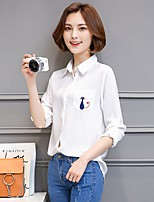 Going out Casual/Daily Work Simple Cute Shirt,Animal Print Shirt Collar Long Sleeve White Polyester