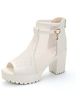 Women's Sandals Summer Club Shoes Leatherette Office & Career Dress Casual Chunky Heel Buckle Black White Walking
