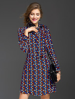 REVIENNE BAY Women's Going out Cute A Line DressPolka Dot Halter Above Knee Long Sleeve Blue Others Spring Summer Mid Rise Inelastic Medium