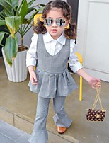 Girls' Casual/Daily Plaid Sets,Polyester Summer Spring Fall Sleeveless Clothing Set