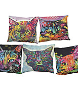 Set of 5 Color cat  pattern  Linen Pillowcase Sofa Home Decor Cushion Cover (18*18inch)