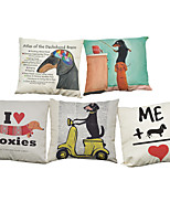 Set of 5 Creative dachshund pattern  Linen Pillowcase Sofa Home Decor Cushion Cover (18*18inch)