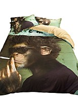 Animal Duvet Cover Sets 4 Piece Polyester cartoon Reactive Print Polyester Queen 1pc Duvet Cover 2pcs Shams 1pc Flat Sheet