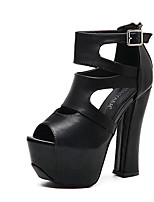 Heels Summer Club Shoes PU Dress Chunky Heel Buckle Black