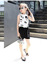 Casual/Daily Striped Sets,Cotton Rayon Summer Short Sleeve Clothing Set