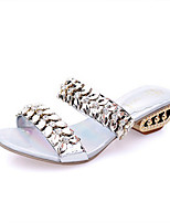 Sandals Spring Summer Fall Comfort PU Dress Casual Flat Heel Rhinestone Silver Gold