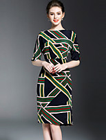 Women's Casual/Daily Cute Sheath Dress,Patchwork Boat Neck Above Knee ½ Length Sleeve Polyester Spring Summer Mid Rise Inelastic Medium