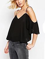 Feminino Camiseta Casual Simples Primavera Verão,Sólido Preto Poliéster Com Alças Manga ¾ Média