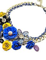 Ожерелье Ожерелья-бархатки Ожерелья с подвесками Бижутерия Свадьба Для вечеринок Круглый дизайн Цветочный дизайн Сплав 1шт ПодарокЖелтый