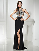 Vestido formal de noite trompete / mermaid scoop sweep / brush train jersey com beading