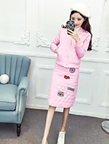Sign 2016 fashion European leg fashion embroidered letter compressed cotton baseball jacket + skirts suits