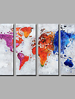 Hand-Painted  Abstract Vertical Modern Four Panels Canvas  Oil Painting The map For Home Decoration