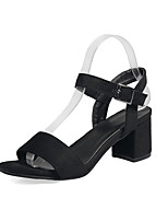 Women's Sandals Spring Summer Leatherette Dress Chunky Heel Black Green