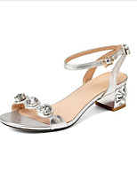 Sandals Spring Summer Club Shoes Cowhide Dress Casual Rhinestone