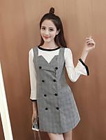 Hitz 2016 Korean fashion plaid dress stitching Speaker sleeve piece Sign