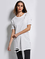 Going out Casual/Daily Holiday Simple Street chic Spring T-shirt,Solid Boat Neck Long Sleeve White Polyester