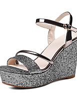 Women's Sandals Spring Summer Fall Club Shoes Glitter Customized Materials Wedding Party & Evening Dress Wedge Heel Buckle
