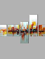 Pintada a mano Abstracto Cualquier Forma,Modern Cinco Paneles Lienzos Pintura al óleo pintada a colgar For Decoración hogareña