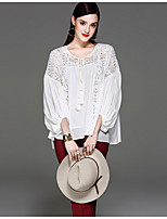 Women's Holiday Street chic Spring Fall Blouse,Solid Leopard Round Neck ¾ Sleeve Cotton Polyester Thin