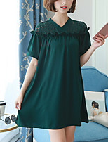 Women's Plus Size Slim Loose Dress Solid Patchwork Lace Cut Out V Neck Above Knee Short Sleeve Green  Summer Mid Rise