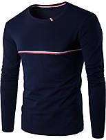 Herren Gestreift Einfarbig Einfach Aktiv Lässig/Alltäglich Übergröße T-shirt,Rundhalsausschnitt Frühling Herbst LangarmBaumwolle Leinen