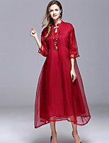 Women's Going out Chinoiserie Loose Dress,Solid Stand Midi ½ Length Sleeve Silk Spring Summer Mid Rise Micro-elastic Medium