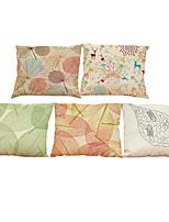 Set of 5 Creative leaf pattern   Linen Pillowcase Sofa Home Decor Cushion Cover (18*18inch)