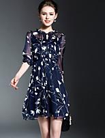 Feminino Evasê Vestido,Para Noite Fofo Floral Decote Redondo Acima do Joelho Meia Manga Poliéster Primavera Verão Cintura MédiaSem