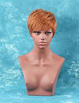 Fluffy Short Straight Side Bang High quality Human Hair Wig