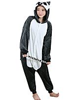 Kigurumi Pajamas Monkey Leotard/Onesie Festival/Holiday Animal Sleepwear Halloween Black Flannel Cosplay Costumes For Unisex Female Male
