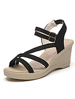 Sandals Spring Comfort PU Casual Flat Heel Others Black White