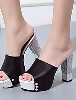 Damen-Sandalen-Kleid-PU-BlockabsatzWeiß Schwarz