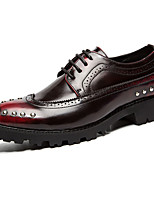 Черный Коричневый Красный-Мужской-Для прогулок Повседневный-Полиуретан-На плоской подошве-Удобная обувь-На плокой подошве