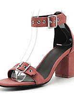 Черный Светло-Розовый-Для женщин-Для прогулок Для праздника-Дерматин-На толстом каблуке Блочная пятка-Гладиаторы-Сандалии