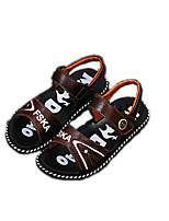 Sandals Spring Summer Fall Comfort PU Casual Flat Heel Black Brown