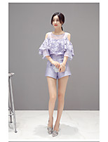 Women new Korean version of sweet lace flounced organza strapless tops fashion shorts