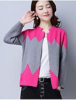 Court Cardigan Femme Décontracté / Quotidien simple,Géométrique Col Arrondi Manches Longues Polyester Printemps Automne Moyen