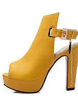 Sandals Spring Summer Fall Club Shoes Gladiator Novelty Leatherette Office & Career Dress Casual Chunky Heel Buckle ChainBlack Yellow
