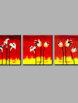 Hand-Painted Abstract Floral/Botanical VerticalModern Three Panels Canvas Oil Painting For Home Decoration