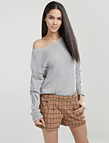 Women's Going out / Casual/Daily / Club Sexy / Cute Regular Pullover,Solid Blue / Red / Beige / Gray Asymmetrical Long Sleeve Others