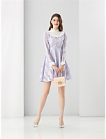 ZRANFANG  Going out Casual/Daily Cute Street chic A Line DressSolid Stand Mini Long Sleeve Cotton Polyester Purple Spring Fall High Rise Inelastic