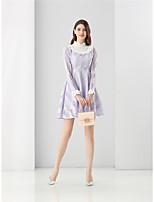 Для женщин На выход На каждый день Очаровательный Уличный стиль А-силуэт Платье Однотонный,Воротник-стойка Мини Длинный рукав Фиолетовый