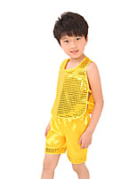 Jazz Outfits For Boys Kid's Children's Performance Polyester Sequins 2 Pieces Sleeveless High Top Shorts Gold/Red/Green