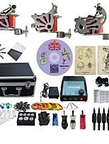 Komplettes Tattoo Kit 3 x Stahl-Tattoomaschine für Umrißlinien und Schattierung 3 Tattoo-Maschinen LED-StromversorgungTinten geliefert
