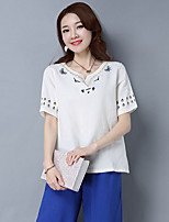 nouveau printemps dames rétro vent nationale short t-shirt en coton brodé style chinois