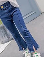 Para Meninas Jeans Casual Cor Única Verão Primavera Outono Algodão